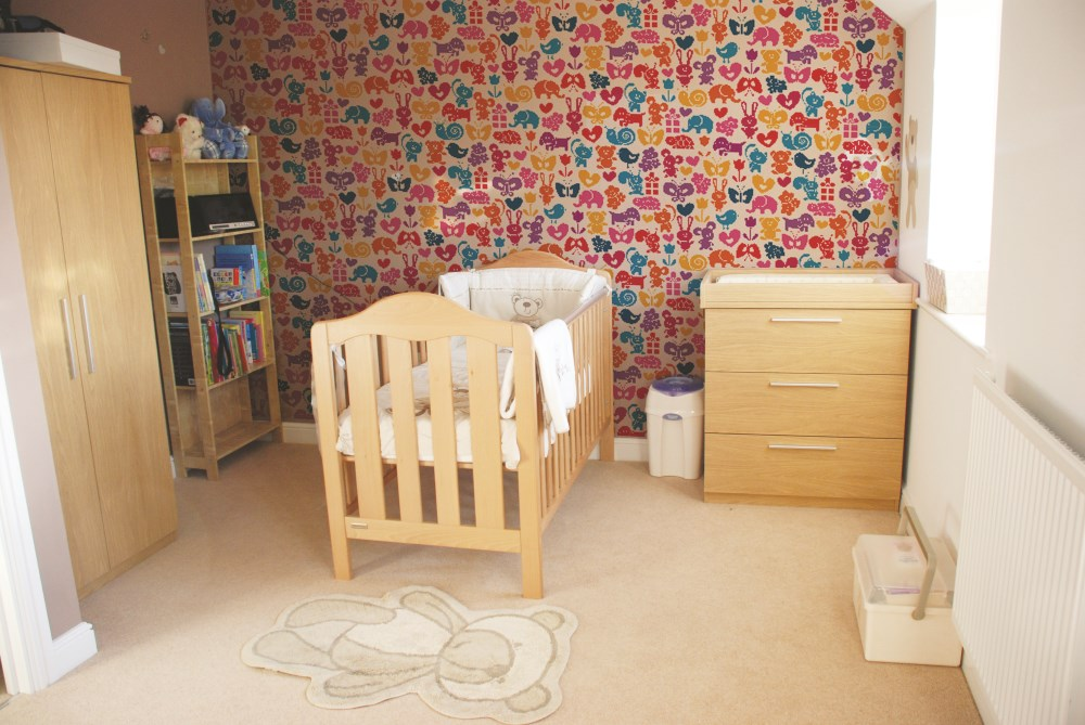 Wedowallpaper, kids nursery with bespoke printed wallpaper pattern